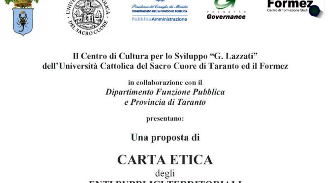 """Il testo – La """"Carta Etica"""" degli Enti Pubblici Territoriali"""
