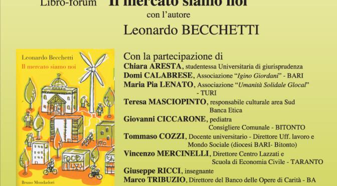 """Convegno pubblico con L. Becchetti – """"Uscire dalla Crisi"""""""