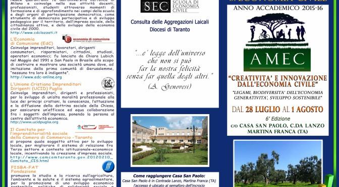 Aperto il Bando – Summer School di Economia Civile 2015-16