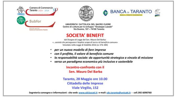 SOCIETA' BENEFIT – il Sen. Mauro Del Barba a Taranto