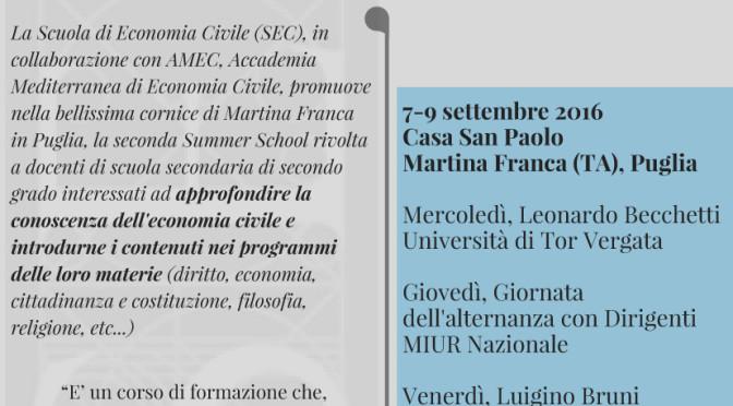 A lezione di Economia civile: una Summer school per docenti