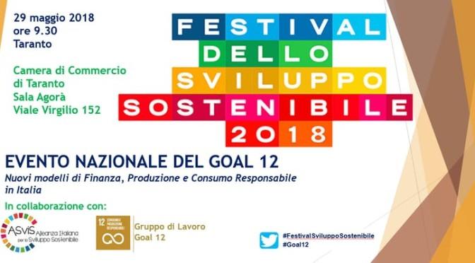 29 Maggio a Taranto, Goal 12 : Finanza, Produzione e Consumo Responsabile