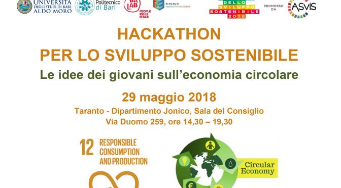 29 maggio, Taranto: HACKATHON, idee dei giovani sull'economia circolare