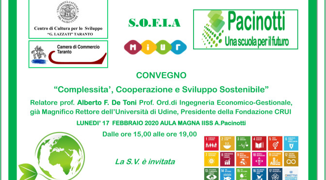 """Prof. De Toni a Taranto,  """"Complessità, Cooperazione, Sviluppo Sostenibile"""""""