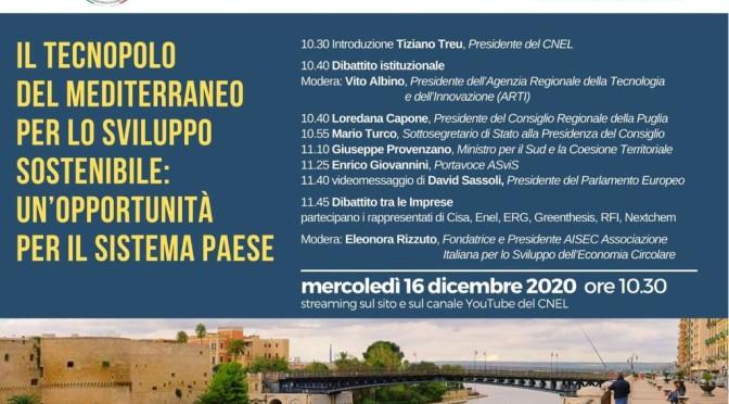 Incontro del CNEL sul Tecnopolo di Taranto